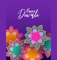 happy diwali festival card 3d papercut flowers vector image