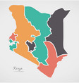 kenya map with states and modern round shapes vector image vector image