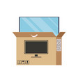 large plasma tv is half visen out box vector image