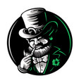 leprechaun mascot character engraved for saint vector image vector image