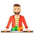 Man with healthy food vector image vector image