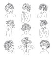 minimal line drawing woman flower images vector image vector image