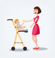 mom with child in a child s armchair feeds vector image