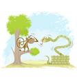 monkey hangs on snake vector image vector image