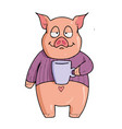 pig on white background cute cartoon vector image vector image
