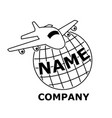 plane travel logo black and white vector image