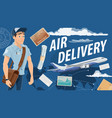 post air mail service and mailman vector image vector image