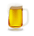 realistic transparent glass with foamy beer vector image vector image