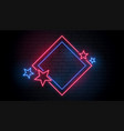 red and blue neon frame with stars vector image