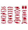 red banner ribbons set of 34 ribbons vector image vector image