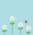 red butterfly white daisy chamomile set cute vector image vector image