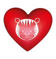 red heart shape with silhouette face cute tiger vector image vector image