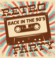 retro party poster design disco music event at vector image vector image