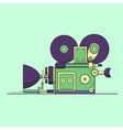 Retro vintage cinema film camera lineart vector image