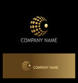 round sphere dot technology gold logo vector image