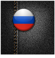 Russia Badge on Black Denim Jeans Fabric Texture vector image vector image