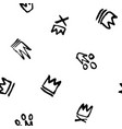 seamless pattern of doodles hand drawn crowns vector image