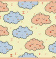 seamless pattern with cartoon sleeping gray and vector image vector image