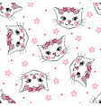 seamless pattern with cute cats isolated on white vector image vector image