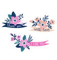 set hand drawn ribbons with flowers and stylish vector image vector image