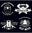 set scuba diving club and diving school badges vector image vector image