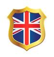 shield gold edge with uk united kingdom flag vector image vector image