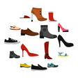 shoe icons set in flat style vector image vector image