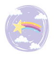 shooting star rainbow with clouds sky cartoon vector image vector image