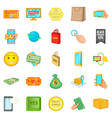 shop online icons set cartoon style vector image vector image