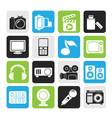 Silhouette multimedia and technology icons vector image vector image