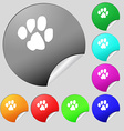 trace dogs icon sign Set of eight multi colored vector image vector image