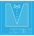 Tuxedo with bow silhouette White section of icon vector image vector image