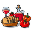 vegetables and wine vector image vector image
