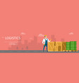 warehouse worker stand near box and tank banner vector image vector image