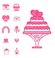 wedding outline married engagement icons vector image vector image