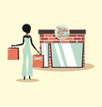 woman retro shopping vector image vector image