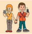 young man and woman isolated on a date attention vector image vector image