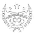 2 crossed knifes and brass knuckle line-art emblem vector image vector image