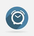 alarm clock Circle blue icon with shadow vector image vector image