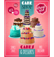 baked cakes poster vector image vector image