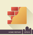 brick wall with plaster or plastering icon vector image