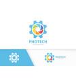 camera shutter and gear logo combination vector image vector image