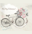 card with hand drawn bicycle and flowers vector image vector image