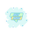 cartoon buy now banner icon in comic style badge vector image
