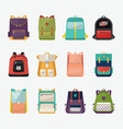 children or kids school bags or rucksacks vector image vector image