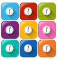 Clock buttons vector image vector image