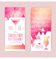 cocktail geometric triangle banner vector image vector image