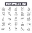 customers line icons signs set outline vector image vector image