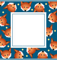 cute red fox on indigo blue banner card vector image
