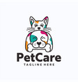 dog and cat logo template vector image vector image
